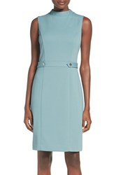 Ellen Tracy Women's Mock Neck Ponte Sheath Dress Ice Blue
