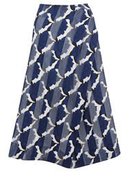 Finery Cambridge China Rose Print Skirt Blue