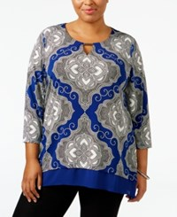 Jm Collection Plus Size Printed Handkerchief Hem Top Only At Macy's Blue Medal