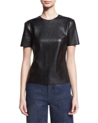Cedric Charlier Short Sleeve Faux Leather Tee Black
