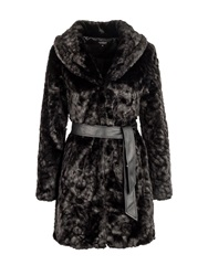 Morgan Furry Look Belted Coat Black