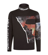 Blood Brother Fire Print Sweatshirt Male Black