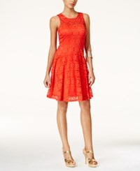Thalia Sodi Sleeveless Lace A Line Dress Only At Macy's Rich Coral