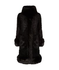 Elie Saab Embroidered Fur Trim Coat Black