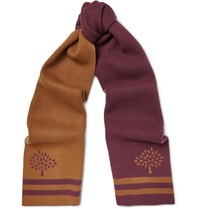 Mulberry Wool And Cashmere Blend Jacquard Scarf Burgundy