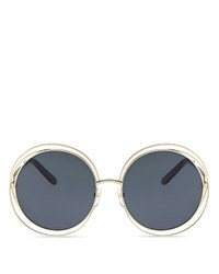 Chloe Carlina Oversized Round Sunglasses 62Mm Gold Solid Blue Lens