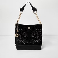 River Island Womens Black Velvet Embroidered Slouch Bag