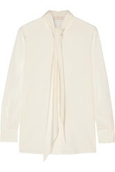 Tory Burch Pussy Bow Stretch Silk Blouse