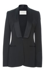 Carolina Herrera Satin Shawl Collar Blazer Jacket Black