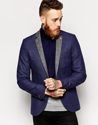 Noose And Monkey Woven In England Puppytooth Blazer With Contrast Lapel In Skinny Fit Blue