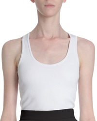 Givenchy Ribbed Racerback Tank Top White