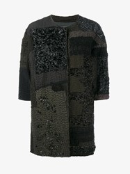 By Walid Delya Bead Embellished Silk Patchwork Coat Multi Coloured Black