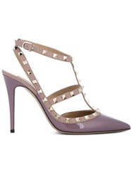 Valentino Garavani Leather Rockstud Sandals Pink And Purple