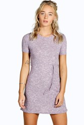 Fiona Ribbed Tie Front A Line Ribbed Dress