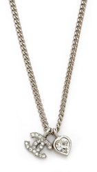 Wgaca Vintage Chanel Rhinestone Cc Heart Necklace Silver Clear