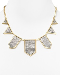 House Of Harlow 1960 Engraved Five Station Necklace 16 Gold Silver