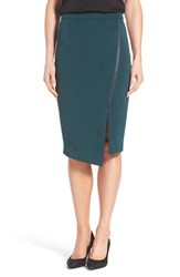 Halogenr Petite Women's Halogen Asymmetrical Zip Pencil Skirt Green Ponderosa