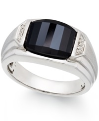 Macy's Men's Onyx 4 1 2 Ct. T.W. And Diamond Accent Ring In Sterling Silver