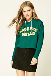 Forever 21 Goodbye Hello Raw Cut Hoodie Green Yellow