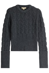 Michael Kors Wool Cashmere Cable Knit Pullover Grey