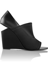 Alexander Wang Alla Neoprene And Leather Wedge Sandals Black