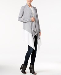Kensie Asymmetrical Contrast Hem Cardigan Heather Grey Combo