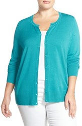 Plus Size Women's Sejour Crewneck Cardigan Teal Plumage