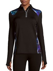 Andrew Marc New York Paneled Quarter Zip Athletic Sweatshirt Black Multicolor