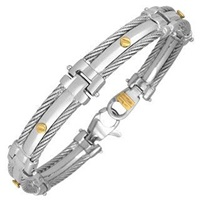 Forzieri Difulco Line Gold Screw Stainless Steel Link Bracelet