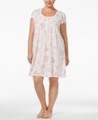 Miss Elaine Plus Size Lace Trimmed Nightgown Pink Rose