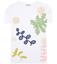 Vika Gazinskaya Cotton T Shirt With Crochet Applique White