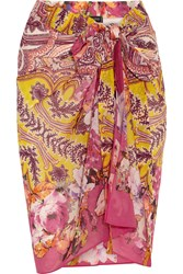 Etro Printed Cotton And Silk Blend Pareo Yellow