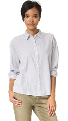 The Great Slouchy Shirt Cream And Grey Stripe