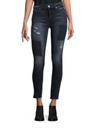 7 For All Mankind Distressed Patched Skinny Jeans Black Shadow