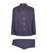 Harrods Of London Check Flannel Pyjamas Male Blue