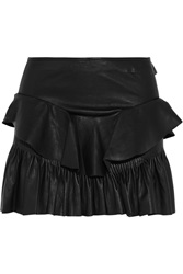 Isabel Marant Cyan Ruffled Stretch Leather Mini Skirt Black