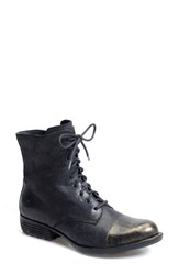 Born Women's Born 'Lookis' Cap Toe Boot Black Gold Leather