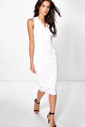 Boohoo Lace Top Plunge Bodycon Dress Ivory