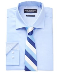 Nick Graham Fitted Solid Blue Chambray Dress Shirt And Navy Multi Stripe Slim Tie