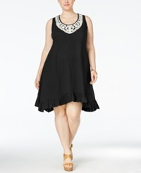 Styleandco. Style And Co. Plus Size Crochet Trim Ruffled Swing Dress Only At Macy's Deep Black
