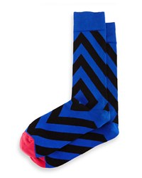Directional Stripe Knit Socks Royal Blue Black Royal Blue Black Jonathan Adler