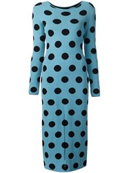 Natasha Zinko Knitted Polka Dot Dress Blue