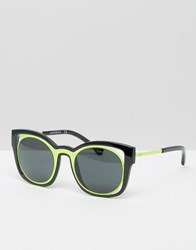 Emporio Armani Cut Out Cat Eye Sunglasses With Contrast Yellow Black