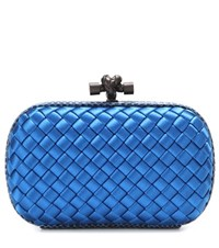 Bottega Veneta Knot Satin And Snakeskin Clutch Blue