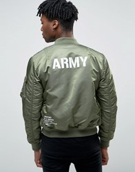 Alpha Industries Ma 1 Bomber Jacket With Usaf Back Print In Slim Fit Sage Green Gr1 Green 1