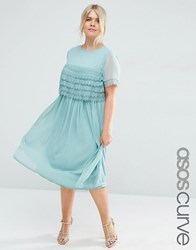Asos Curve Salon Midi Prom Dress With Layered Lace Top Green