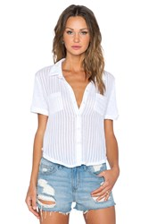 Stateside Shadow Stripe Short Sleeve Button Up White