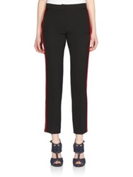 Lanvin Contrast Wool Tuxedo Pants Black Red
