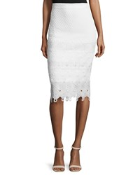 Rebecca Taylor Textured Lace Trim Pencil Skirt Snow Size 10