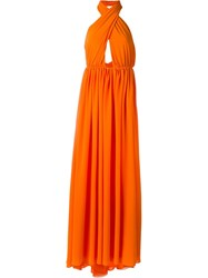 Msgm Halterneck Gown Yellow And Orange